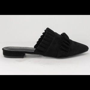 Black Suede Slip-On Mule Double Ruffles